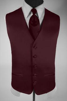 Men's Suit Tuxedo Dress Vest Necktie Solid Burgundy XXL picclick.com