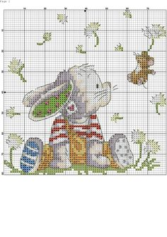 Bunny and mouse Baby Cross Stitch Patterns, Cross Stitch Art, Cross Stitch Alphabet, Cross Stitch Animals, Cross Stitch Designs, Cross Stitching, Cross Stitch Embroidery, Embroidery Patterns, Loom Patterns