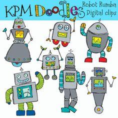 KPM Robot Rumba Digital  Clip Art COMBO by kpmdoodles on Etsy