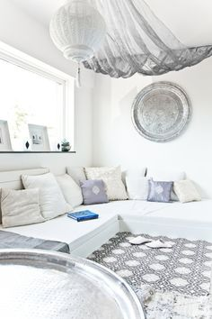 White Moroccan inspired living room
