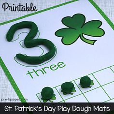 Printable St. Patrick's Day Play Dough Counting Mats for Preschool and Kindergarten