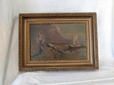 antique 1850's Oil Painting  French pastoral scene AM