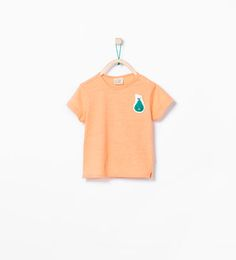 Image 1 of Organic cotton T-shirt with fruit appliqué from Zara