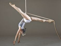 Aerial rope...seriously?? Holding with her toes..