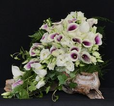 Brides Bouquet designed with Purple and White Picaso Calla and Soft White Lisianthus and a bit of trailing ivy.