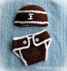 Football Hat & Diaper Cover