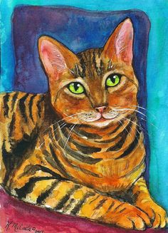 "Sweet Green-Eyed Tabby Cat on Blue 7""x5"" ART PRINT of original watercolor by K.McCants"