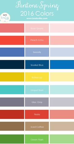 Pantone Spring 2016 Colors - like the variations on the main Pantone color schemes.