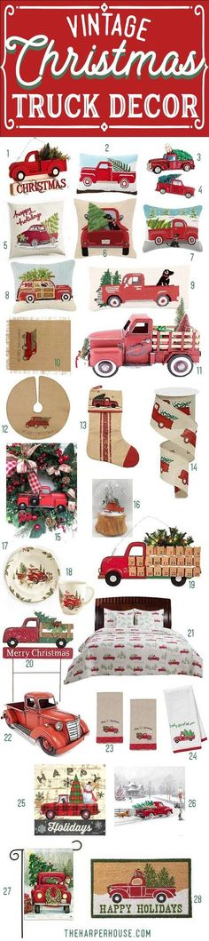 Vintage Red Truck with Christmas Tree Decor - perfect for your farmhouse Christmas decorations   farmhouse Christmas ornaments   farmhouse Christmas pillows   #FarmhouseChristmas #redtruck