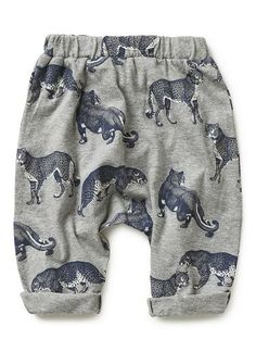 Drop-crotch, jersey pant with elasticated waistband and tapered leg. Features all-over roaming leopards print. Available in Grey Marle. Online Shopping Shoes, Kids Fashion Boy, Boys Pants, Tops For Leggings, Kids Prints, Kids Wear, Baby Boy Outfits, Cool Kids, Baby Kids
