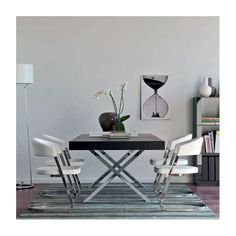 Modern Table Black Chrome Legs Extendable Calligaris Axel