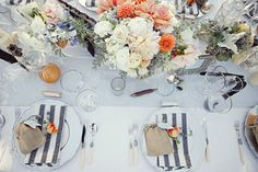 amorology: orange, gray and white tablescape