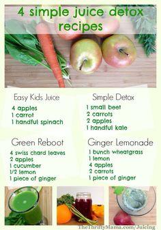 A fantastic guide to 4 Homemade Detox Juices...including a juice you can make for kids.  Great!  #GetPostureFit #Juicing #Postursizer