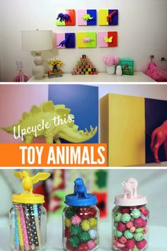 Kid's Bedroom Chic: Upcycle plastic toys into wall art and jar toppers >> http://www.ulive.com/video/kids-bedroom-chic-upcycled-toys-into-a-gallery-wall