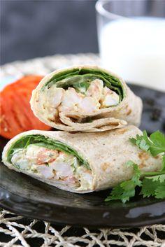--Healthy Shrimp Sandwich Wrap with Curry Yogurt & Spinach Recipe-- cup nonfat Greek yogurt cup light mayonnaise 1 tbsp mango chutney 2 tsp curry powder 1 tsp fresh lime juice tsp kosher salt 12 oz. large shrimp peeled and deveined 3 tbsp mince Shrimp Sandwich, Soup And Sandwich, Seafood Recipes, Cooking Recipes, Healthy Recipes, Shrimp Wraps, Clean Eating, Healthy Eating, Healthy Food