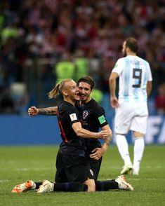 Domagoj Vida and Sime Vrsaljko of Croatia celebrates victory following the 2018 FIFA World Cup Russia group D match between Argentina and Croatia at...