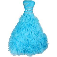Strapless Beaded Bandage Mesh Florettes Prom Dress ($300) found on Polyvore