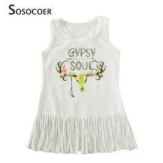SOSOCOER Girls Tassel Dress 2017 Summer Cartoon Deer Baby Gril Dresses High Quality Fashion Letter Sleeveless Dress Kids Clothes #Affiliate