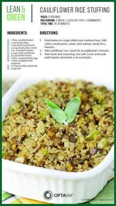 Cauliflower Rice Stuffing sounds like a great side dish for the upcoming holiday season. Cauliflower Rice Stuffing sounds like a great side dish for the upcoming holiday season. Medifast Recipes, Low Carb Recipes, Diet Recipes, Cooking Recipes, Healthy Recipes, Bariatric Recipes, Cooking Food, Cooking Videos, Lunch Recipes