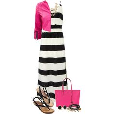 VIX JAMBO MABEL STRIPED MAXI by alice325 on Polyvore featuring Vix, MICHAEL Michael Kors, GUESS, MARC BY MARC JACOBS, ALDO and leatherjacket