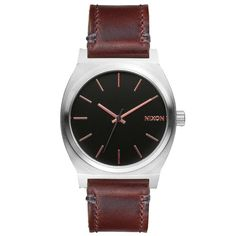Nixon A0452066 Men's The Time Teller Black Dial Brown Leather Strap Watch