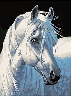 DIY 5D Diamond Inlay Painting White Horse Cross Stitch Kit Décor # 30