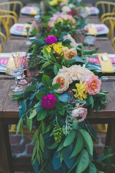 Bohemian garland table runner www.daughtersofsimone.com  Photography:Two Foxes Photography // Event planning/ design: E Events Co. - Design Coordination Planning //Blog: Ruffled // Floral Design/Venue: Tessa's Garden // Hair: Malina Terra // Makeup: Kelly Jones Makeup // Cake and desserts: Pure Bliss Baking Co. // Table: Alibi Interiors // Rentals: Frances Lane / event rental studio  Alexis Party Rental // Invitations/ Paper Goods: Vellum  Vogue