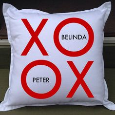 XOXO designer personalised pillow - the ultimate wedding gift, engagement gift or bridal shower gift & perfect keepsake!