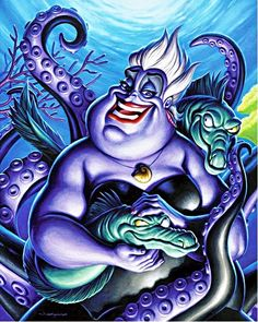 "Ursula by Jason Edmiston-Artists Re-Imagine Disney Films in ""Nothing's Impossible"" - My Modern Met Walt Disney, Disney Pixar, Kida Disney, Disney E Dreamworks, Disney Villains, Disney Animation, Disney Magic, Ursula Disney, Disney Princesses"