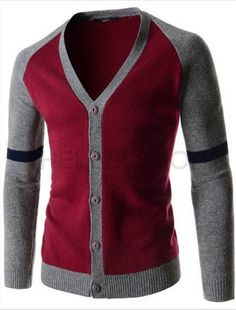 Fashion Gradigans Patchwork Mens Long Sleeve V-Neck Sweater