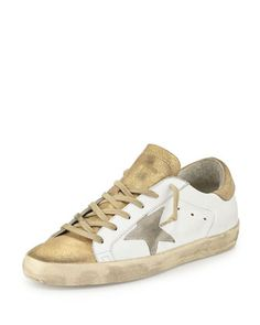 Star-Embellished+Leather+Sneaker,+White/Gold+by+Golden+Goose+at+Bergdorf+Goodman.