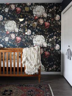 Mara's moody floral nursery reveal Wall of dark wallpaper for office/front room Floral Nursery, Nursery Decor, Bedroom Decor, Nursery Ideas, Garden Nursery, Nursery Mobiles, Cozy Bedroom, Baby Decor, Girls Bedroom