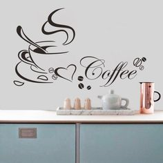 30x58CM Removable Vinyl Wall Decal/stickers For Kitchen or Coffee Station, Coffee Cup w/ Heart Swirls of Steam w/ Coffee Beans
