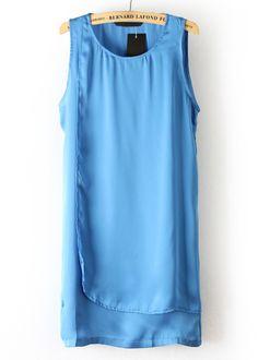 #SheInside Turquoise Round Neck Sleeveless Bilayer Silk Dress