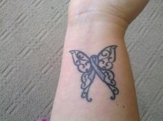 cancer ribbon tattoos with fairy wings