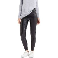 Topshop 'Wet Look' Leggings ($35) ❤ liked on Polyvore featuring pants, leggings, black, black wet look leggings, shiny black leggings, shiny liquid leggings, shiny pants and topshop