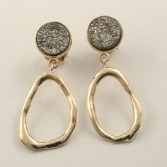 Jim Cotter - 14 Karat Yellow Gold  Earrings with Druzy Agate