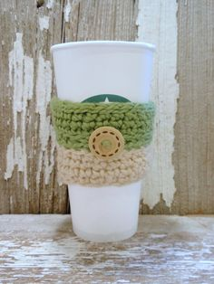 Pistachio and Almond organic cotton with Wooden Button crocheted Coffee Sleeve