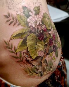 Blackberry brambles, in progress. Tattoo by Stephanie Brown