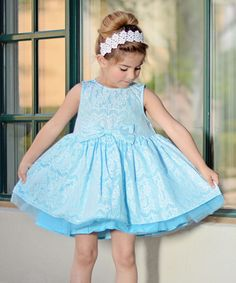 Loving this Just Couture Blue Lace A-Line Dress - Kids on #zulily! #zulilyfinds