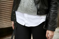 love this mix of texture-- leather/woven/knit/denim