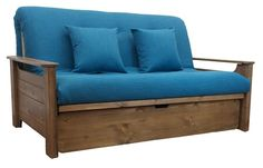 Futon sofa bed, simple to convert from sofa to bed position.