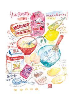 La Recette des Madeleines. Illustrated recipe poster, Kitchen art, by Lucileskitchen on Etsy