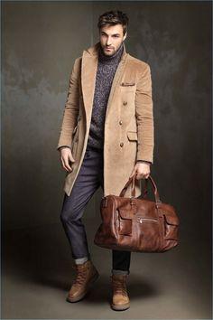 Manteau beige foncé droit Homme IKKS | Mode Automne Hiver
