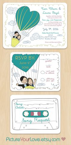 """Picture Your Love specializes in cute cartoon portraits for couples and wedding stationery!  These wedding invitations and RSVPs are the perfect announcement for a """"Love is in the Air"""" theme! Each couple will be illustrated to their likeness in the same pose. Colors are customizable to each couple! Song Request is printed on the other side of each RSVP card. Layout design remains the same."""