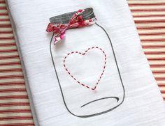 Mason jar valentine tea towel by etsy seller AppleWhite.