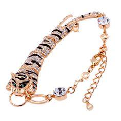 18K gold plated austrian crystal Tiger charm Bracelets