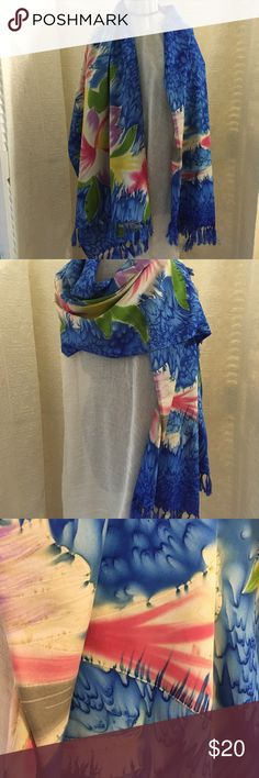 Handprinted Swim Wrap Shawl Scarf Floral Wrap with Bright Blue Background  Measures 44 x 67 inches  Rayon  Fringe Handmade Accessories Scarves & Wraps