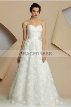 Buy A-line Sweep Brush Train Sweetheart Lace A line Wedding Dresses A0132 With Quality Guarantee, 7 Days Return Polciy And Free Shipping to UK.