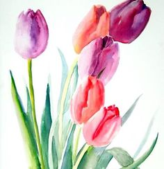 I love to paint birds, animals and plants with watercolor. This is one of my watercolor tulips. Please browse my store for other birds too:)! Watercolor Cards, Watercolour Painting, Watercolor Flowers, Painting & Drawing, Tattoo Watercolor, Simple Watercolor, Watercolor Landscape, Painting Flowers, Abstract Watercolor